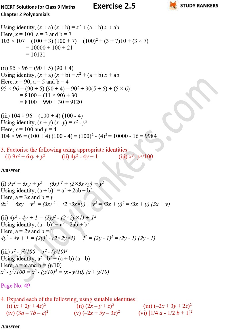 NCERT Solutions for Class 9 Maths Chapter 2 Polynomials Exercise 2.5 Part 2
