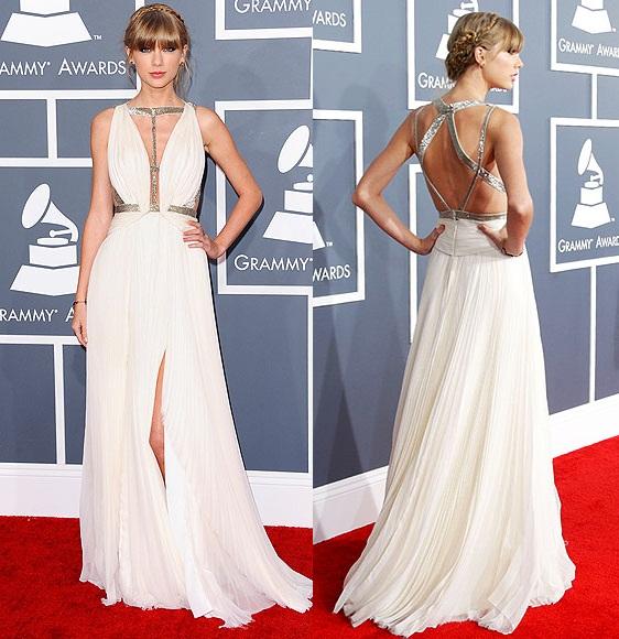 d1993c656 Escolhi alguns do looks usados pelas famosas durante o Grammy Award 2013.  Taylor Swift