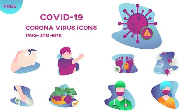 مجموعة أيقونات الوقاية من فيروس كورونا
