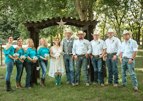 Cowboy and Cowgirl themed wedding with burlap and lace wedding flowers