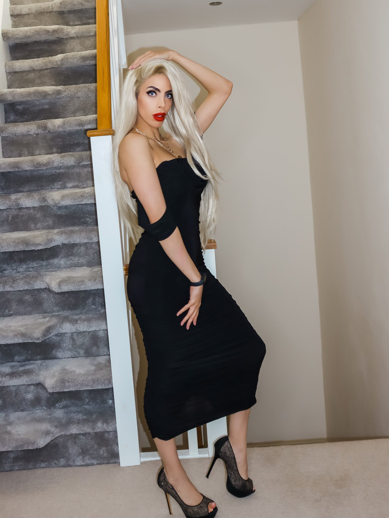 The Femme Luxe Black Bardot Cowl Neck Ruched Midi Dress