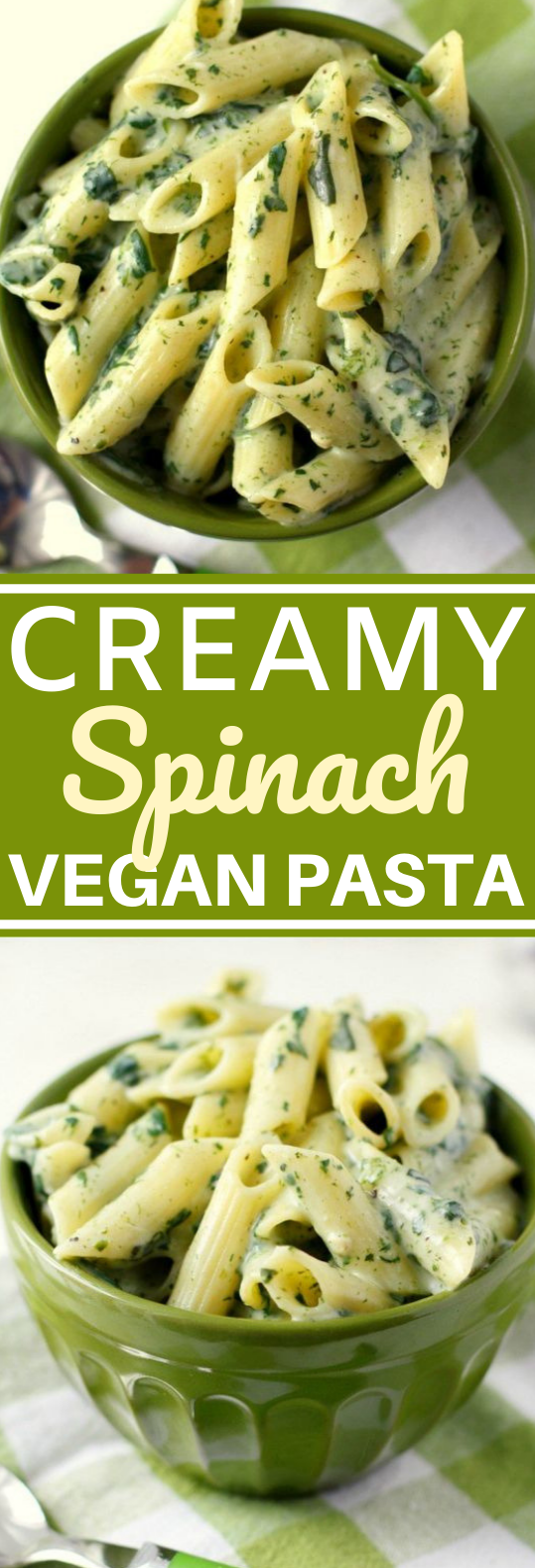 Pasta with Creamy Spinach Sauce #vegetarian #dinner #pasta #vegan #meatless