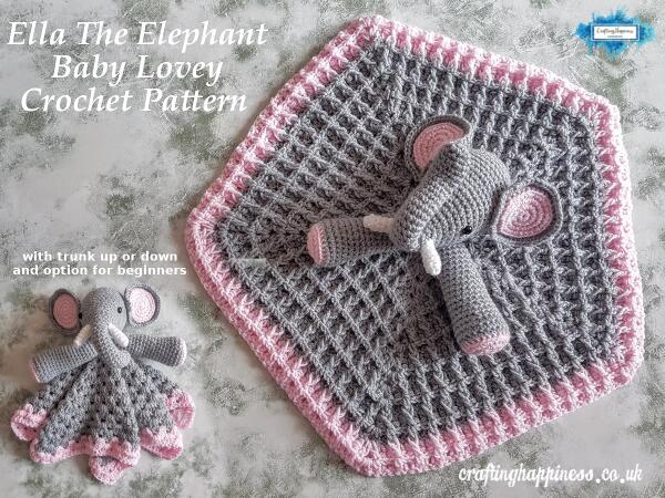 Ella The Elephant Baby Lovey Security Blanket Crochet