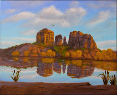 Sedona, Oak Creek, Oak Creek Crossing, Cathedral Rocks, red rocks, AZ, Arizona, clouds, cloud shadows, autumn, fall, water, reflection, blue sky, Southwest, southwestern