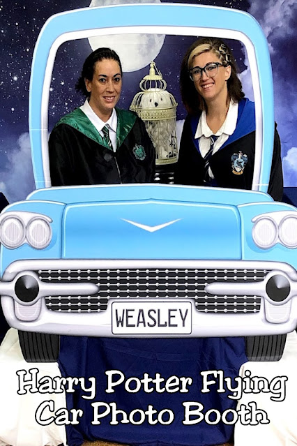 Let your guests fly to Hogwarts with this Harry Potter flying car photo booth during your next Harry Potter birthday party.  Your guests will LOVE this fun and magical memory.