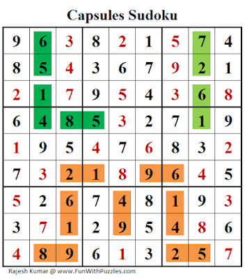 Capsules Sudoku (Daily Sudoku League #201) Puzzle Solution