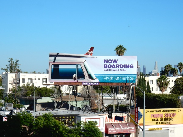 Virgin America surfboard cut-out billboard