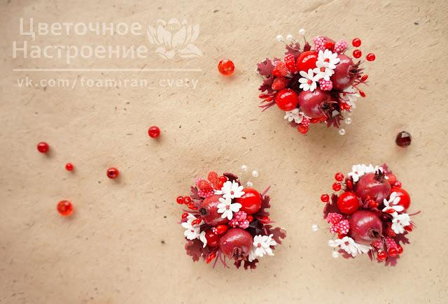 брошка с цветами из фоамирана