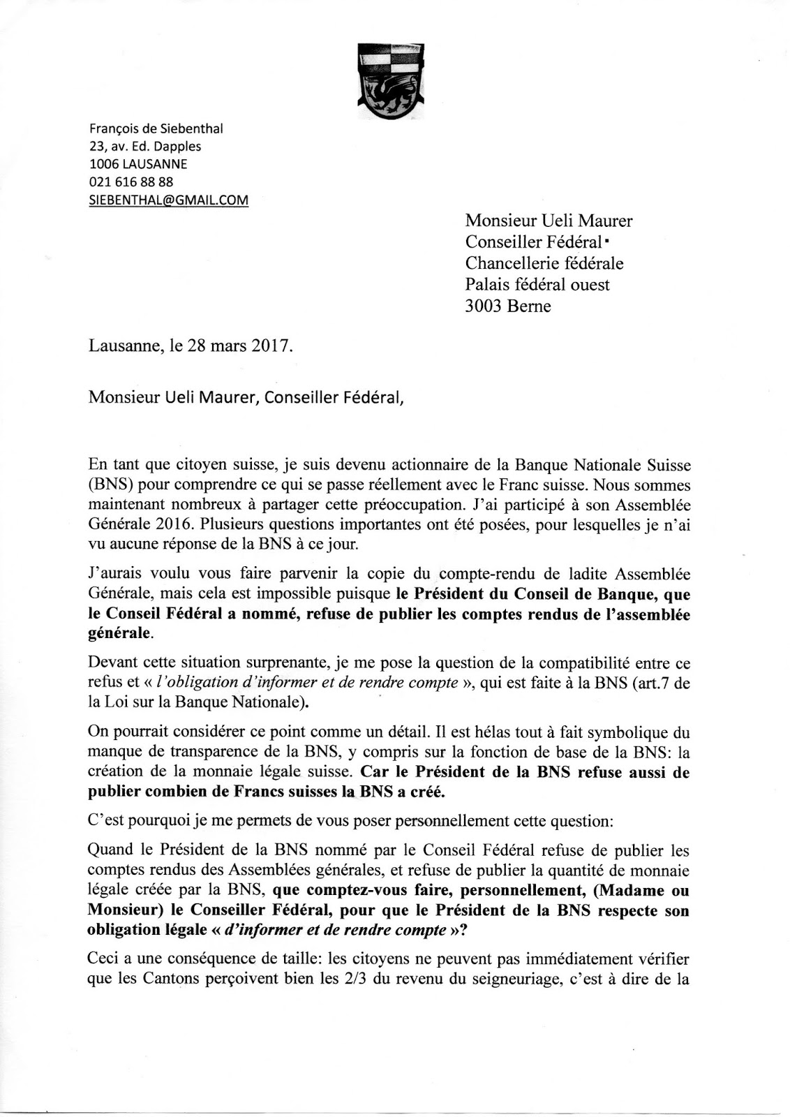 Le Conseiller fédéral trompé par la BNS !