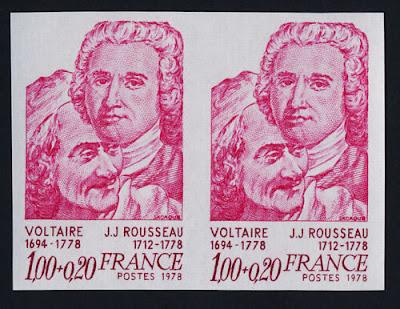 France imperf pair MNH Voltaire & Rousseau