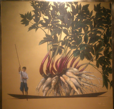 Pintura Pedro Ruiz oro vital cajamarca fondo amarillo y tuberculo