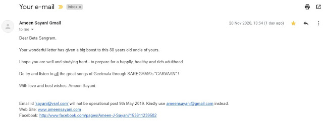Mail from Ameen Sayani sir for Geetmala