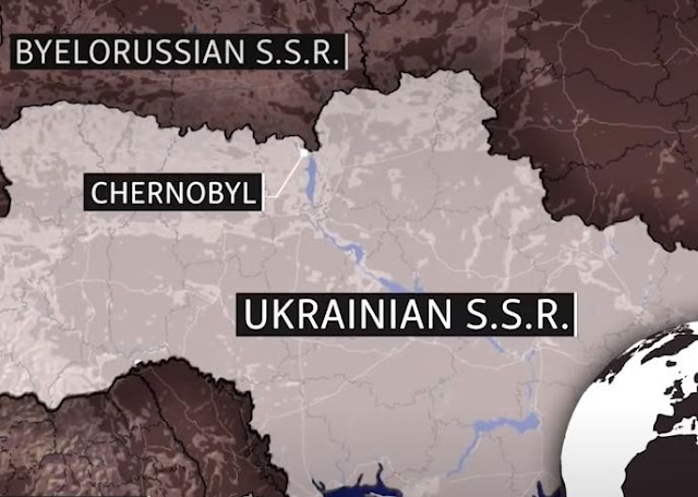 Picture of a map of Chernobyl in Ukraine.