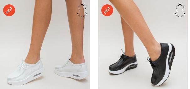 Pantofi casual dama ieftini din piele naturala albi, negri online moderni