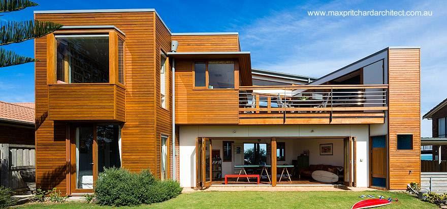 Contrafachada de casa de playa contemporánea en Australia del Sur año 2013