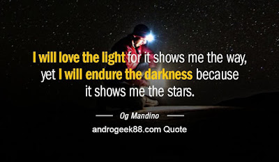 I will love the light for it shows me the way, yet I will endure the darkness for it shows me the stars