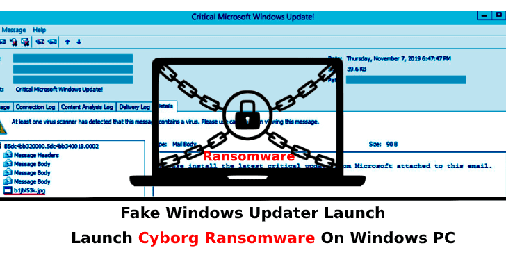 Cyborg Ransomware  - Cyborg 2BRansomware - Fake Windows Updater Launch Cyborg Ransomware On Windows PC