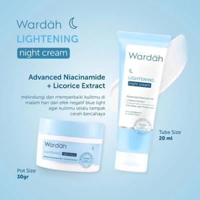 wardah lightening night cream advanced niacinamide + licorice extract