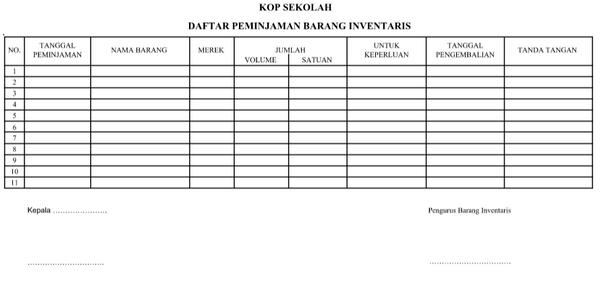 Contoh Daftar Peminjaman Barang Inventaris