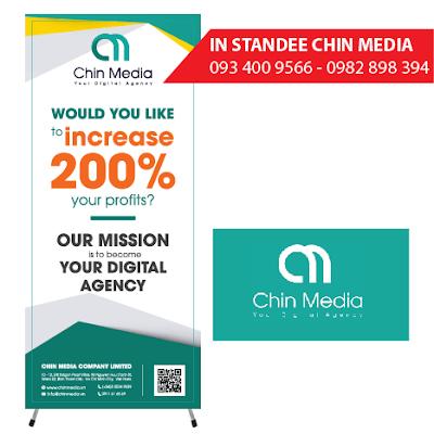 in standee công ty Chin Media Khánh Hội Quận 4