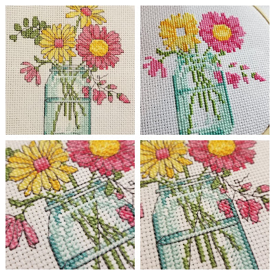 Mason Jar Flowers Cross Stitch