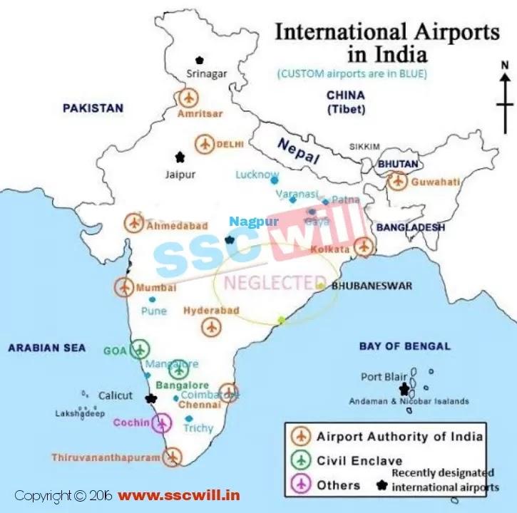 भारत के प्रमुख हवाई अड्डे - Bharat Ke Hawai Adde