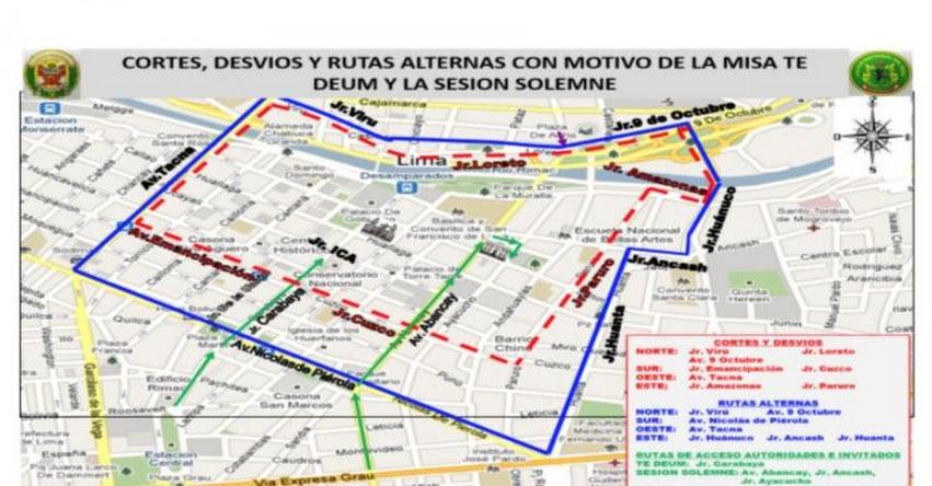 FIESTAS PATRIAS 2017: Estos son los cortes y desvíos vehiculares para el 28 y 29 de julio