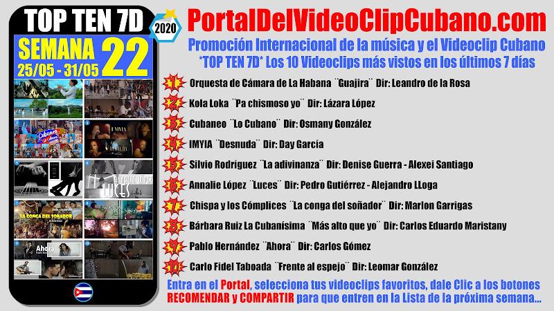 Artistas ganadores del * TOP TEN 7D * con los 10 Videoclips más vistos en la semana 22 (25/05 a 31/05 de 2020) en el Portal Del Vídeo Clip Cubano