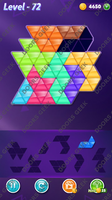 Block! Triangle Puzzle Proficient Level 72 Solution, Cheats, Walkthrough for Android, iPhone, iPad and iPod