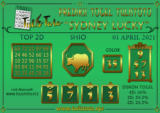 Prediksi Togel SYDNEY LUCKY TODAY TULISTOTO 01 APRIL 2021