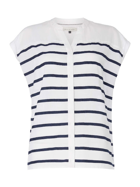 maison de nimes stripe button through shirt