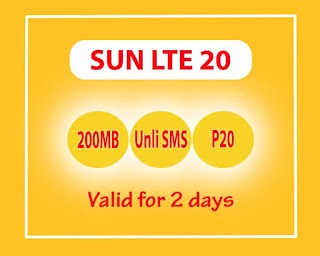 Sun LTE20 – 20 Pesos for up to 2 Days Internet + Unlimited Texts