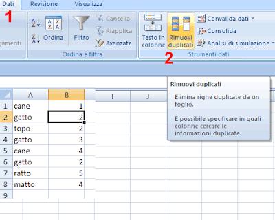 Rimuovere record duplicati Excel