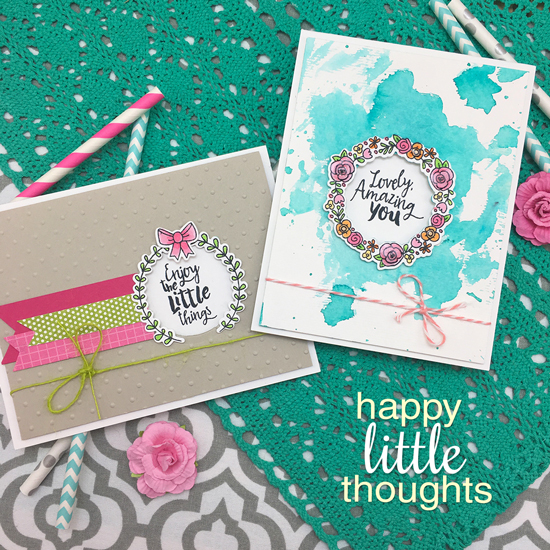 Wreath Cards by Jennifer Jackson | Happy Little Thoughts Stamp set by Newton's Nook Designs #newtonsnook