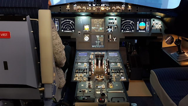 inside the Airbus A320 cockpit Manchester flight simulator
