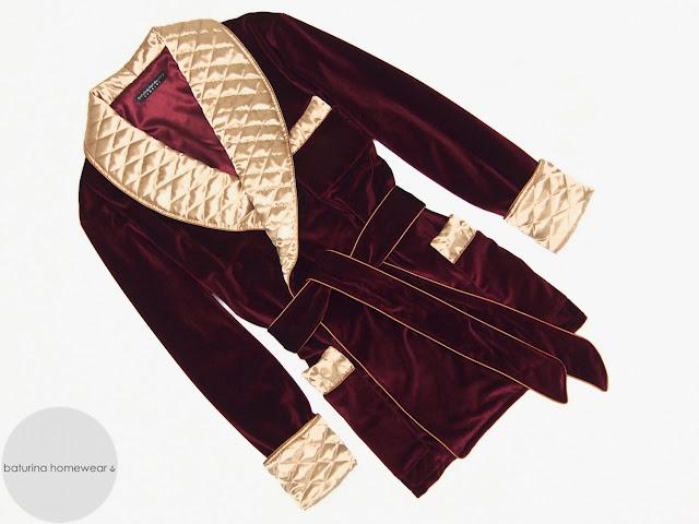 Mens red velvet smoking jacket burgundy gold robe quilted silk dressing gown warm