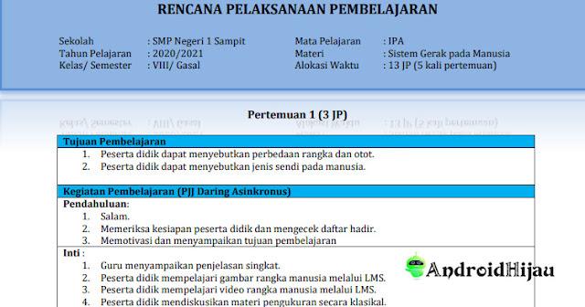 RPP K13 Kelas 8 SMP IPA, RPP Daring Kelas VIII IPA Sistem gerak Pada Manusia, RPP 1 Halaman Sistem gerak pada manusia kelas 8 smp
