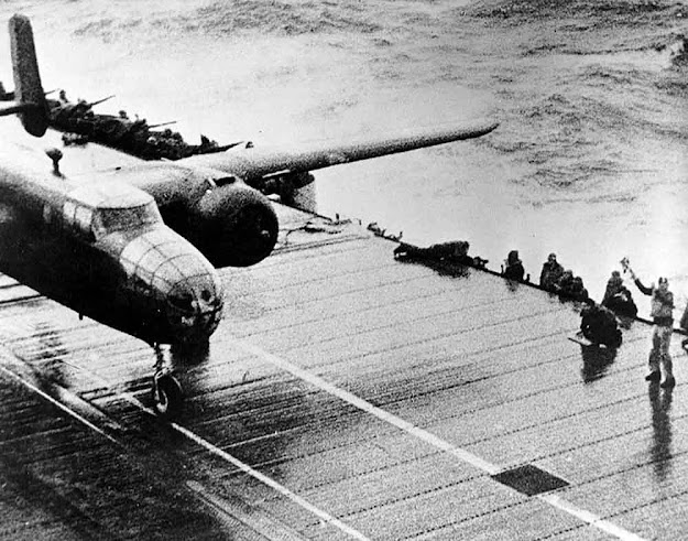 Doolittle's plane taking off.  (Pubic domain photo)