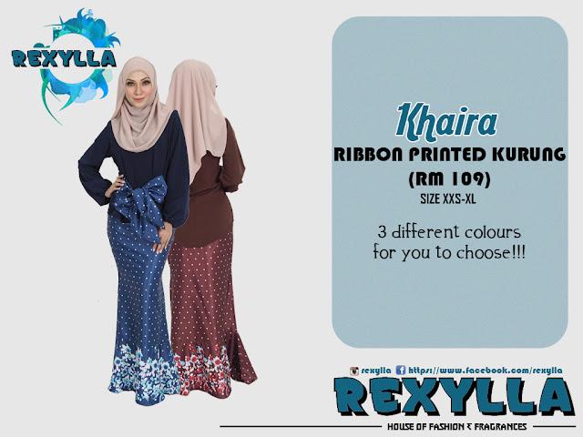 rexylla, baju kurung, ribbon, printed kurung, ribbon printed kurung