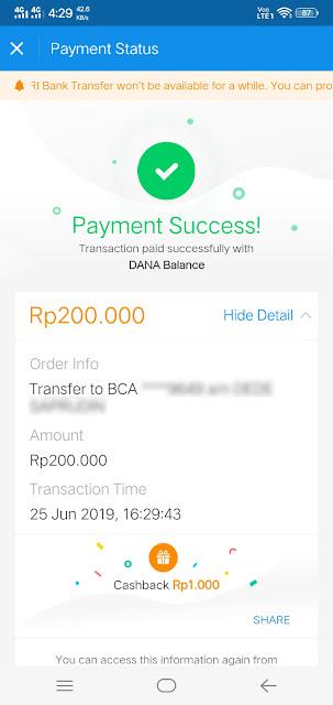 Transfer saldo dana ke rekening BCA gratis