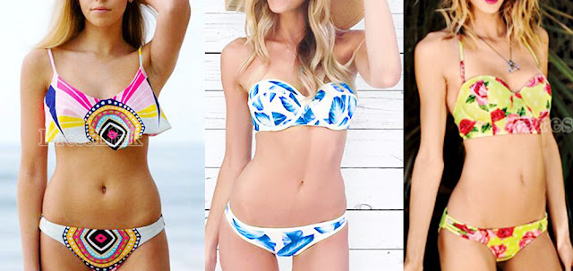 5be805662666a Patterned, floral, and printed bikinis are hot this summer, and bright,  contrasting
