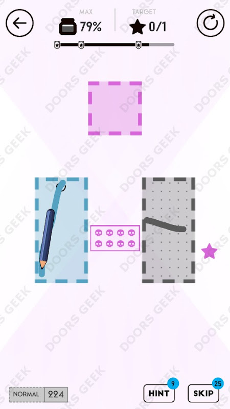 Draw Here Level 224 Solution, Walkthrough, Cheats for Android, iPhone, iPad and iPod