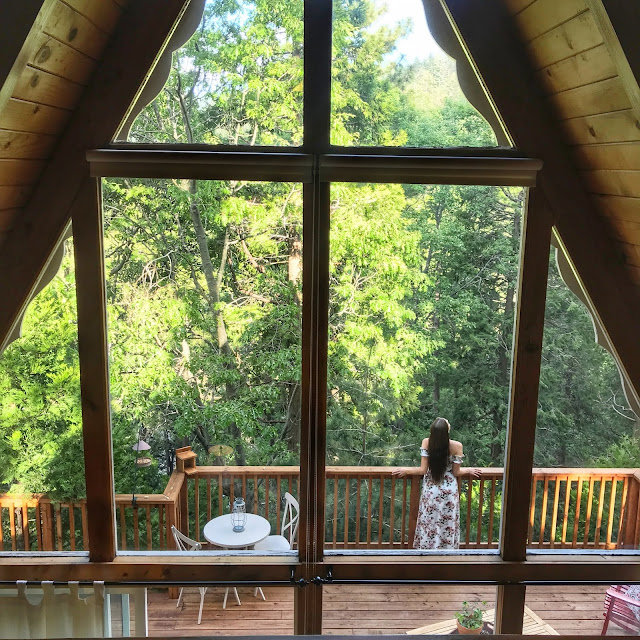 An incredible view from inside the Toad Haven Cottage's Lofted bedroom.