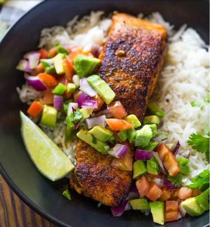 Crispy Salmon & Avocado Salsa Bowls with Cilantro Sauce