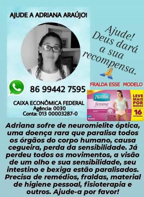 Parnaibana faz campanha para tratamento de doença que paralisou todo o corpo dela