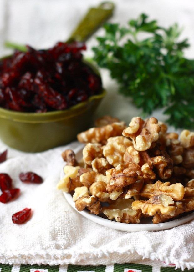 Walnuts and cranberries for Thanksgiving dish