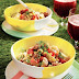 Potato and Corn Salad with Roasted Peppers & Chorizo Vinaigrette