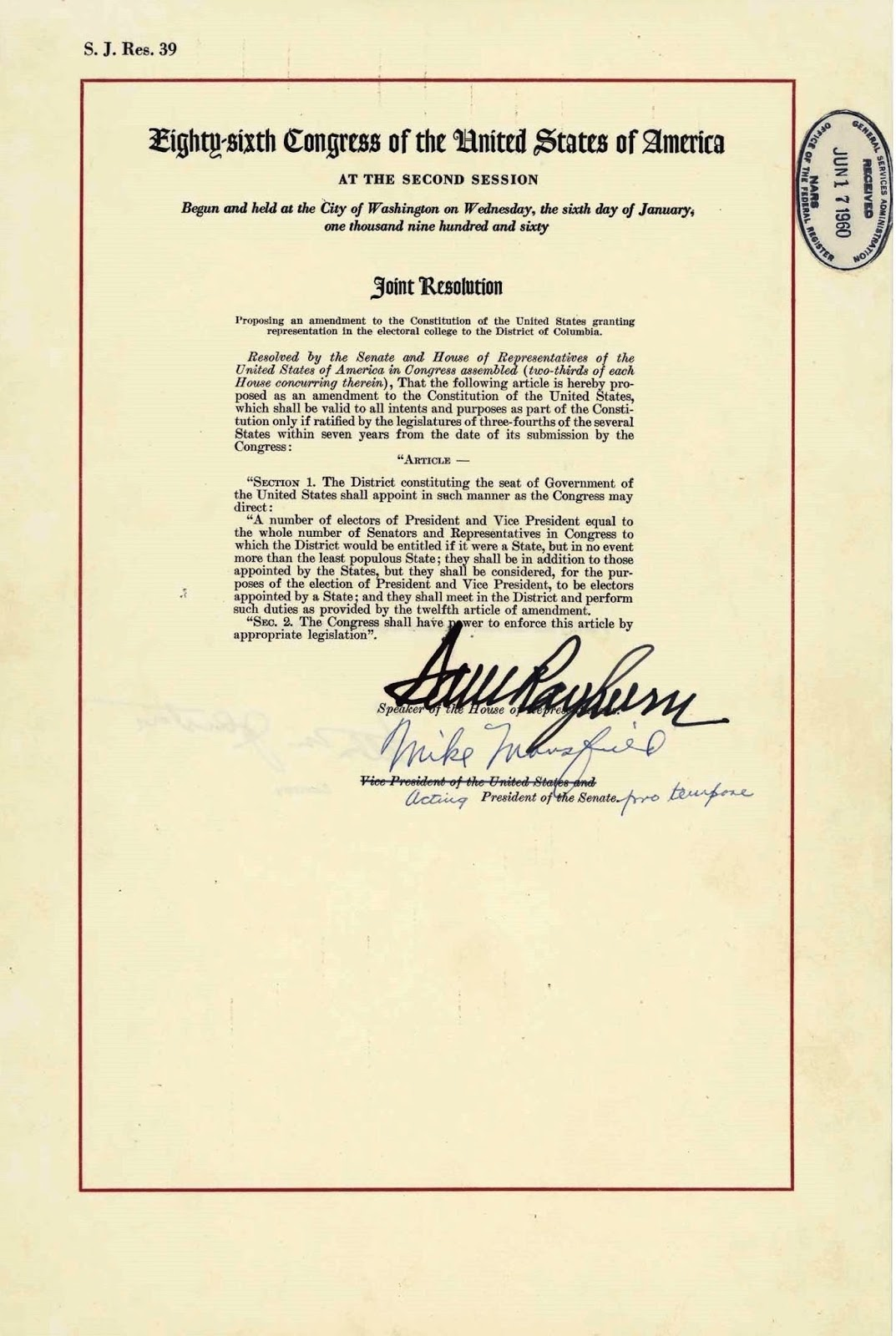 United States Constitution And Citizenship Day 23rd Amendment