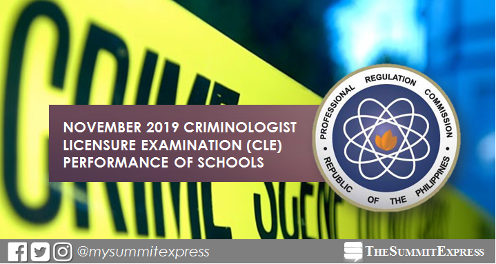 PERFORMANCE OF SCHOOLS: November 2019 Criminologist board exam CLE result