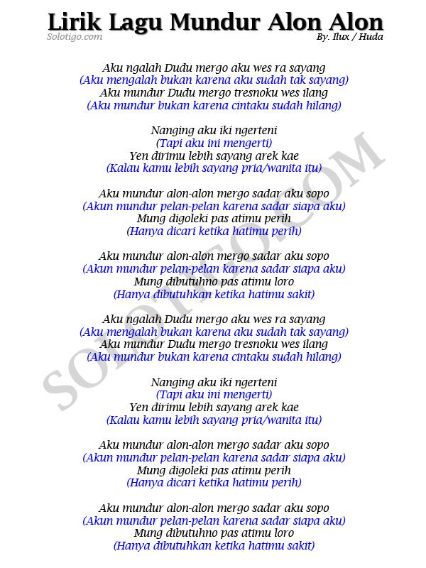 Arti Lirik Lagu Mundur Alon Alon